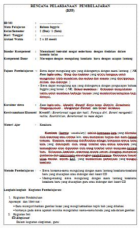 RPP Bahasa Inggris SD/MI Kelas 2 Semester 1 dan 2 Terbaru