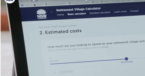Retirement village calculator
