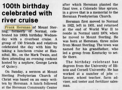 Frank Hersman Normal Illinois 100th birthday 1985