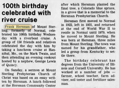 Frank Hersman Normal Illinois 100th birthday 1985