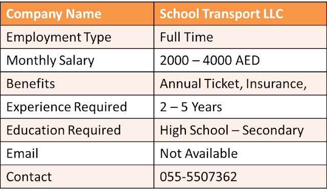 Driving Jobs in UAE, Driver Required in UAE, Driver Required in Dubai, School Bus jobs, Dubai School Bus driver, Bus Driving Jobs in UAE