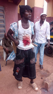 Man Seen In Imo Moving About With Blood Stain And Knife Stuck In His Stomach 4