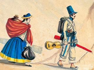 (1) Rabona y soldado, acuarela de Pancho Fierro de mediados del siglo XIX
