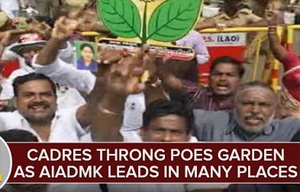 AIADMK Cadres Throng Poes Garden as AIADMK Leads in Many Constituency