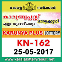 Karunya Plus Lottery KN-162 Results 25-5-2017