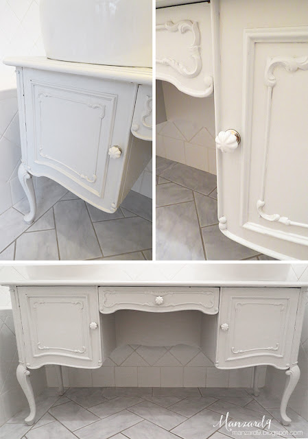 How to turn a dressing table into a double vanity - DIY tutorial - details