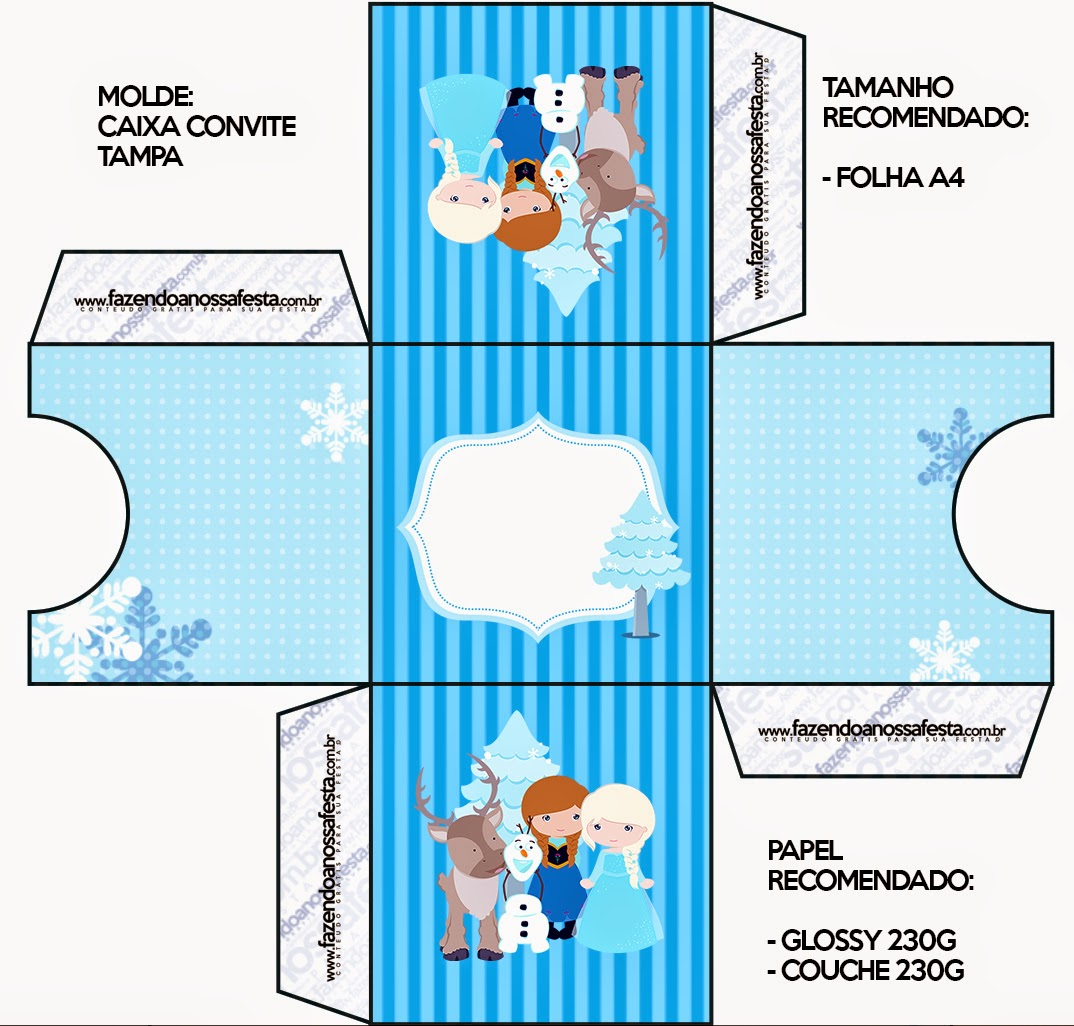 Caja Tarjeta de Frozen Niñas para Navidad Azul.
