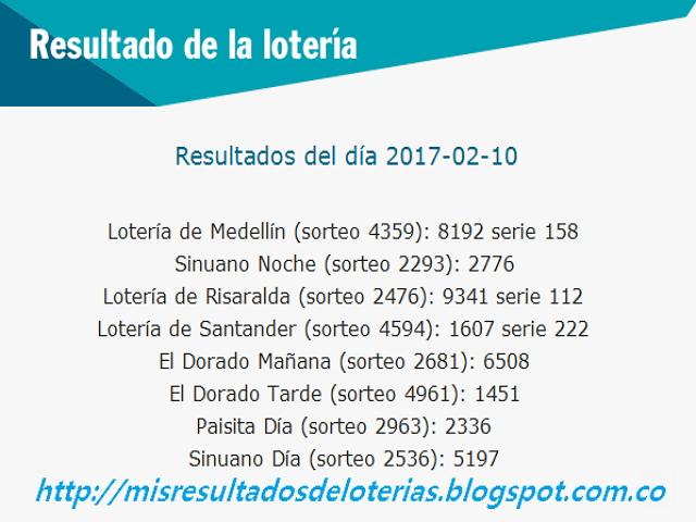 Loterias de Hoy - Resultados diarios de la Lotería y el Chance - Febrero 10 2017