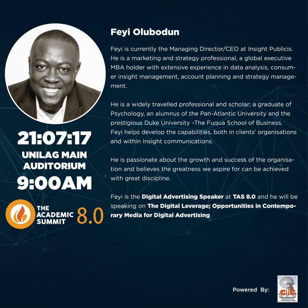Feyi Olubodun Will Be Coming To The Academic Summit 8.0