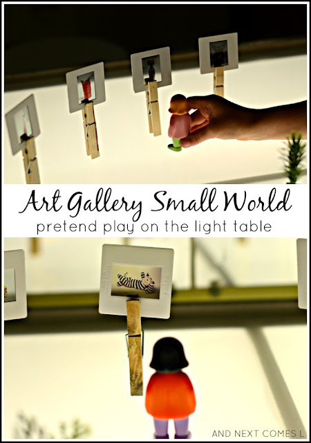 Art gallery small world sensory play - a cute pretend play idea for kids on the light table from And Next Comes L