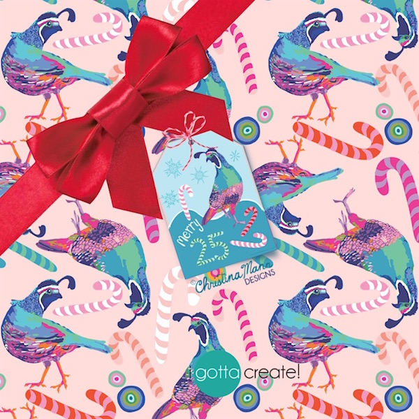 Merry Winter Quail (c) wrapping paper  by Christina Mann Designs available for licensing.