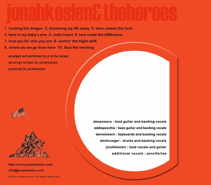 JONAH KOSLEN & THE HEROES Orange (1982-2001) back