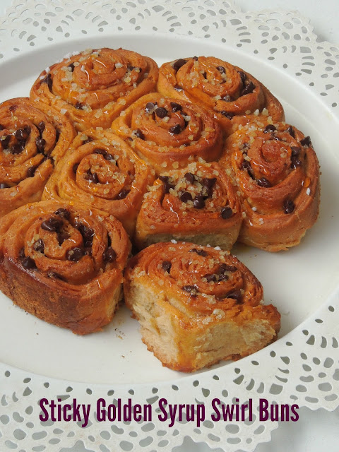 Sticky Golden Syrup Swirl Buns, Eggless Golden Syrup Swirl Buns