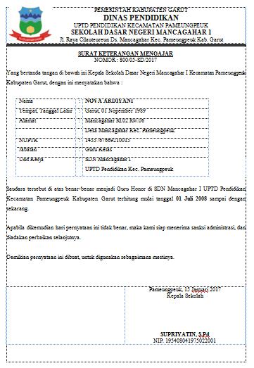 Contoh Surat Keterangan Mengajar Nova Ardiyani