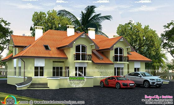 French style sloping roof house architecture