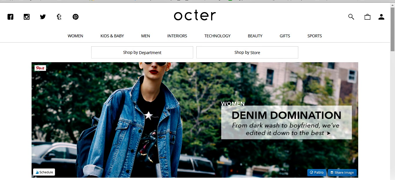 Octer website screen