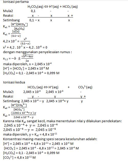Hitunglah konsentrasi masing-masing spesi dalam larutan asam lemah