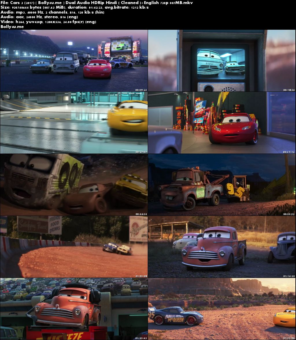 Cars 3 2017 HDRip 300MB Hindi Dual Audio 480p Download