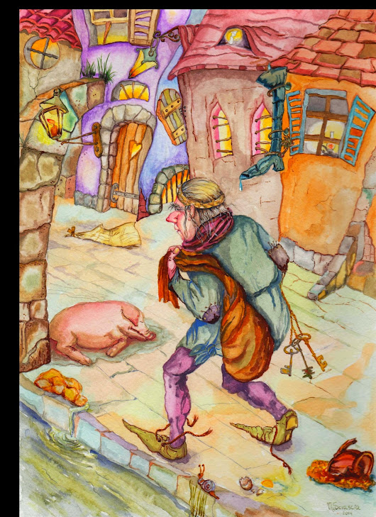 "Ingeborg Rat Trapper"" story and watercolor illustration from Marina Sciascia"