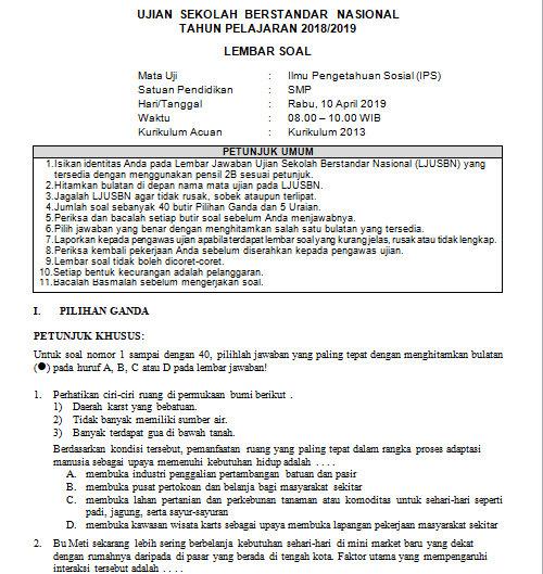 Soal Dan Kunci Jawaban Usbn Ips Smp Kurikulum 2013 Tahun Pelajaran 2018 2019 Didno76 Com