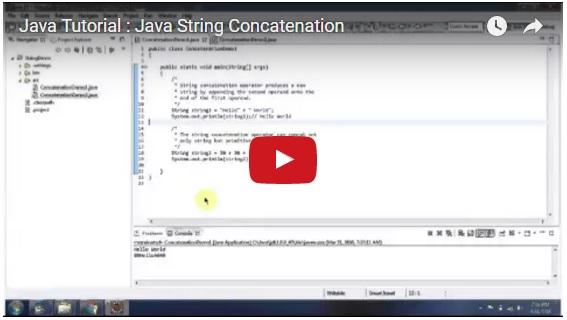 Java Tutorial : Java String Concatenation