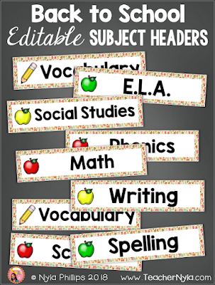 Editable subject header cards back to school theme