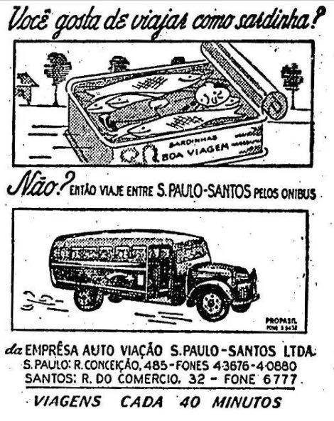 Propaganda antiga que mostra problema de superlotação no transporte nos anos 40