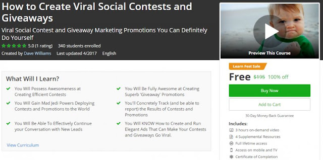 [100% Off] How to Create Viral Social Contests and Giveaways| Worth 195$