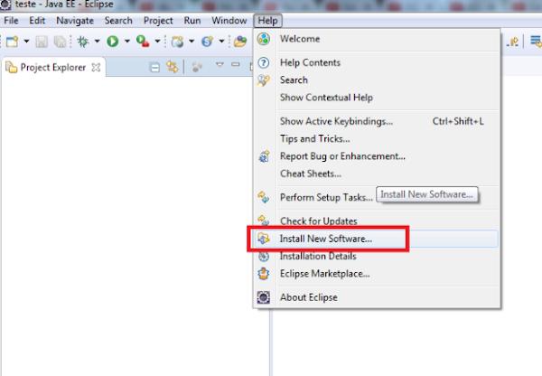 IDE Eclipse opção para instalar plugin