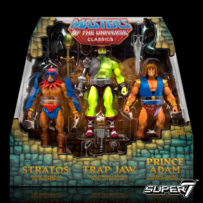 El Pack 1 incluye variantes mini-comic de Stratos, Trap Jaw y Prince Adam.