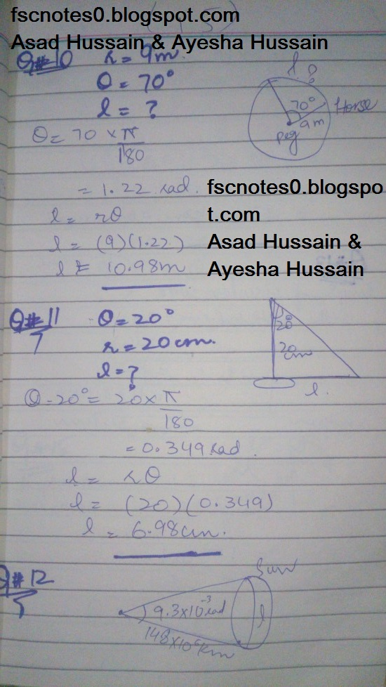 FSc ICS FA Notes Math Part 1 Chapter 9 Fundamentals of Trigonometry Exercise 9.1 Question 8 - 13 by Asad Hussain & Ayesha Hussain 1