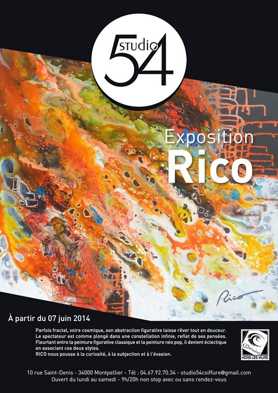 Affiche de l'exposition de Rico au Studio 54, à partir du 07 juin 2014.
