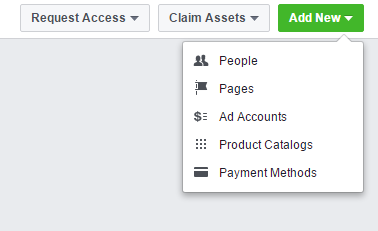 Create new facebook ad account