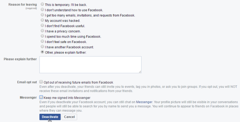 How Do You Deactivate Your Facebook Page