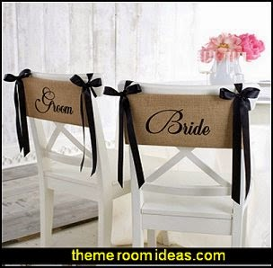 Bride and Groom Chair Sash Set