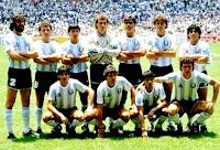 SELECCIÓN DE ARGENTINA - Temporada 1985-86 - Batista, Cuciuffo, Olarticoechea, Pumpido, Brown, Ruggieri, Maradona; Burruchaga, Giusti, Héctor Enrique y Jorge Valdano - ARGENTINA 3 (Brown, Valdano y Burruchaga), ALEMANIA FEDERAL 2 (Rummenigge y Völler) - 29/06/1986 - Mundial de México 1986, final - Ciudad de México (México), estadio Azteca - La Selección de ARGENTINA gana su 2º Mundial