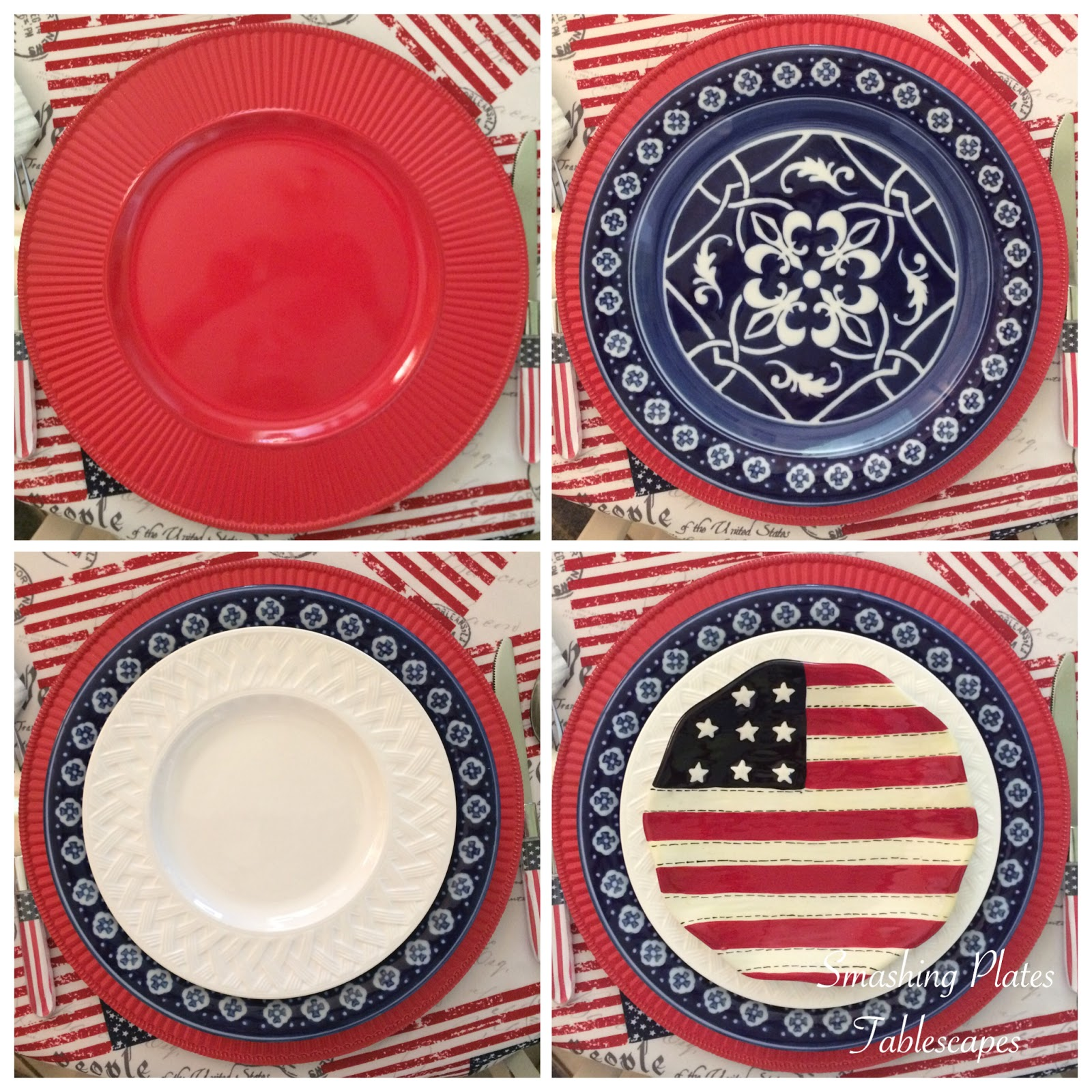 The Catalina Medallion dinner plates are available at Replacements Ltd. The white salad plates are a thrift store find. The flag plates ...  sc 1 st  Smashing Plates Tablescapes & Smashing Plates Tablescapes: Party Like Itu0027s 1776