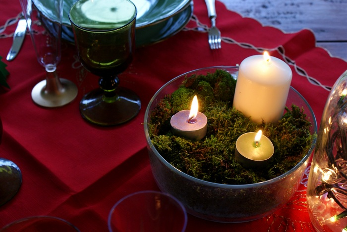 diy moss centrepiece candle table