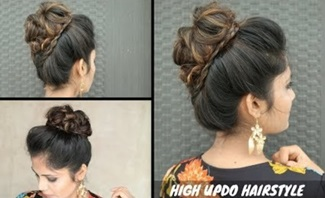 High Messy Updo With Tiny Braid Hairstyle / Updo For Wedding