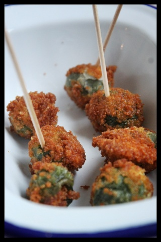 Deep fried stuffed blue cheese olives photo Kerstin Rodgers