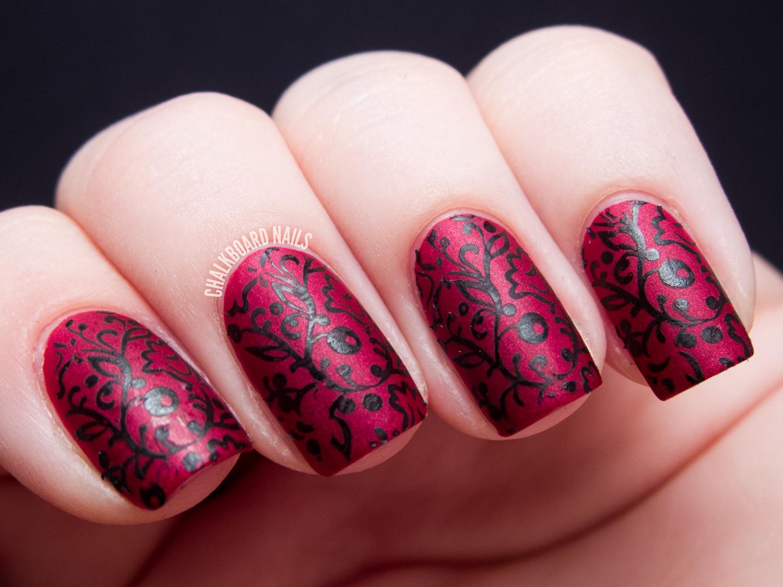 velvet floral stamping chalkboard nails nail art blog. Black Bedroom Furniture Sets. Home Design Ideas