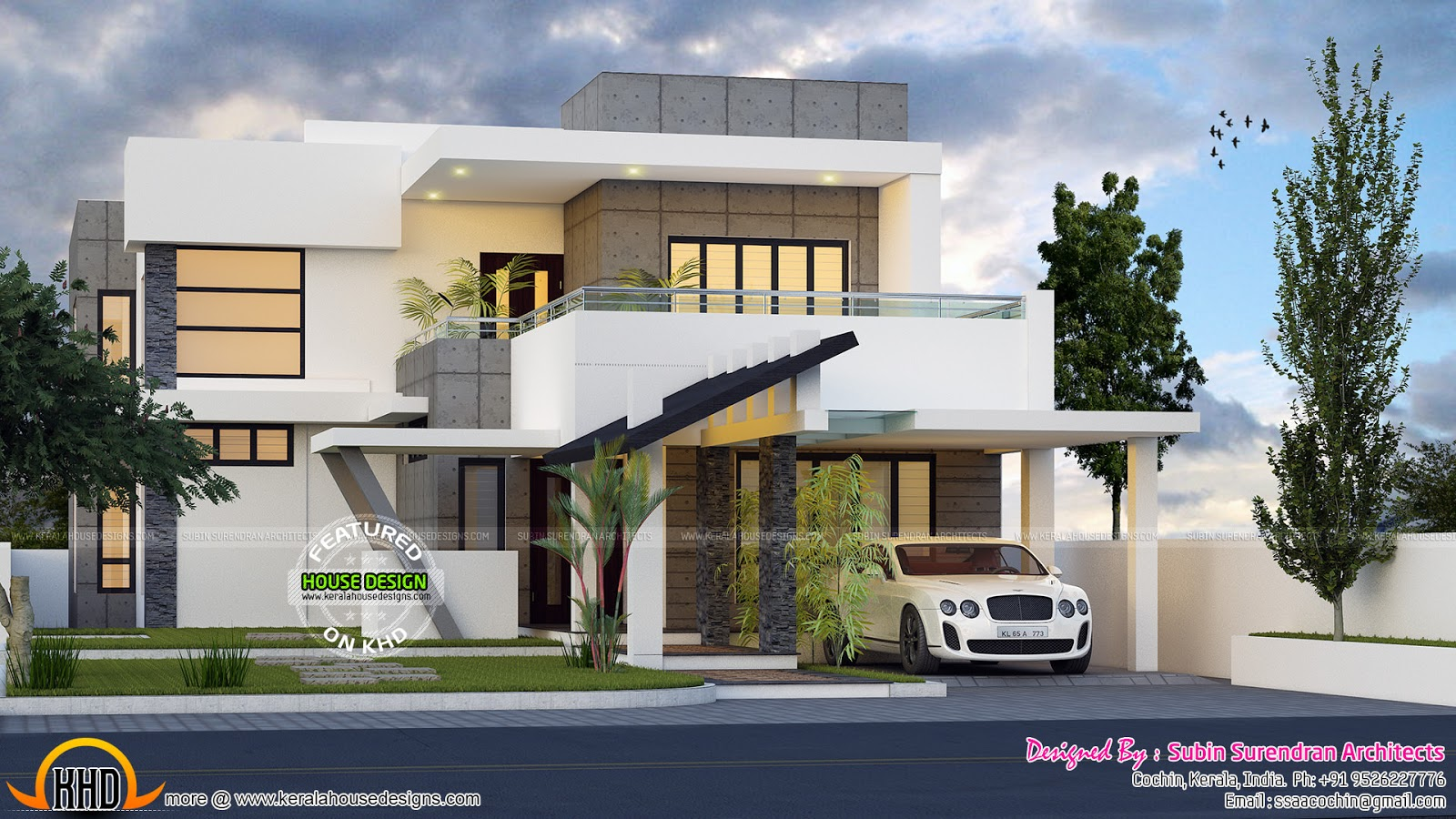 4 bedroom modern contemporary home kerala home design for Contemporary home plans free