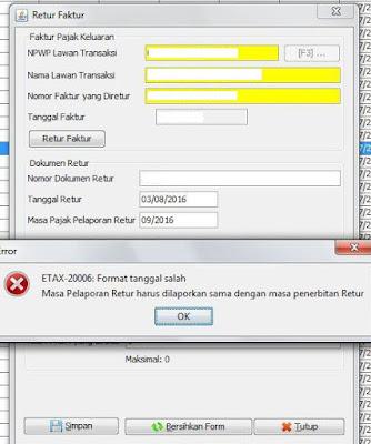 e-faktur error saat input retur error ETAX-20006