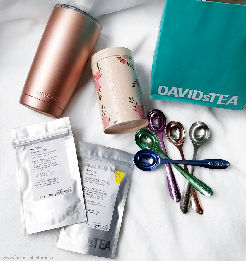 bbloggers, beauty blog, lifestyle blogger, lblogger, davids tea, davidstea, david's tea, valentine, valentines, valentine's day, 2018, collection, sweet tart tea, goji green, perfect spoon, peony pink, so rosy tin, tea tin, perfect tumbler, rose gold, silver, lilac, dewdrop, cornflower