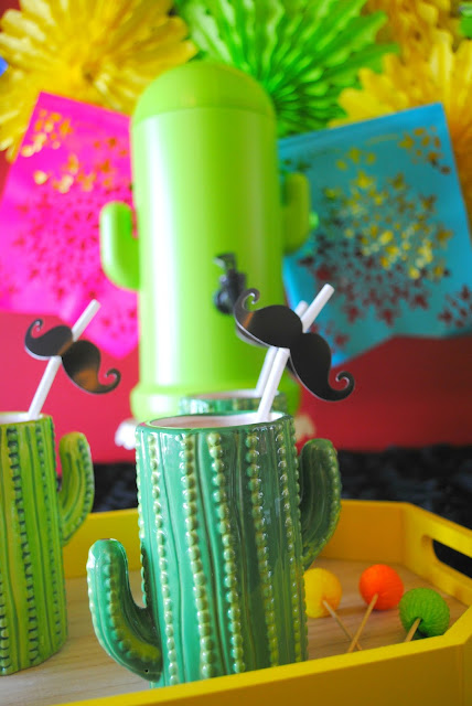 Set up a fun drink station with Oriental Trading products for your Cinco De Mayo party