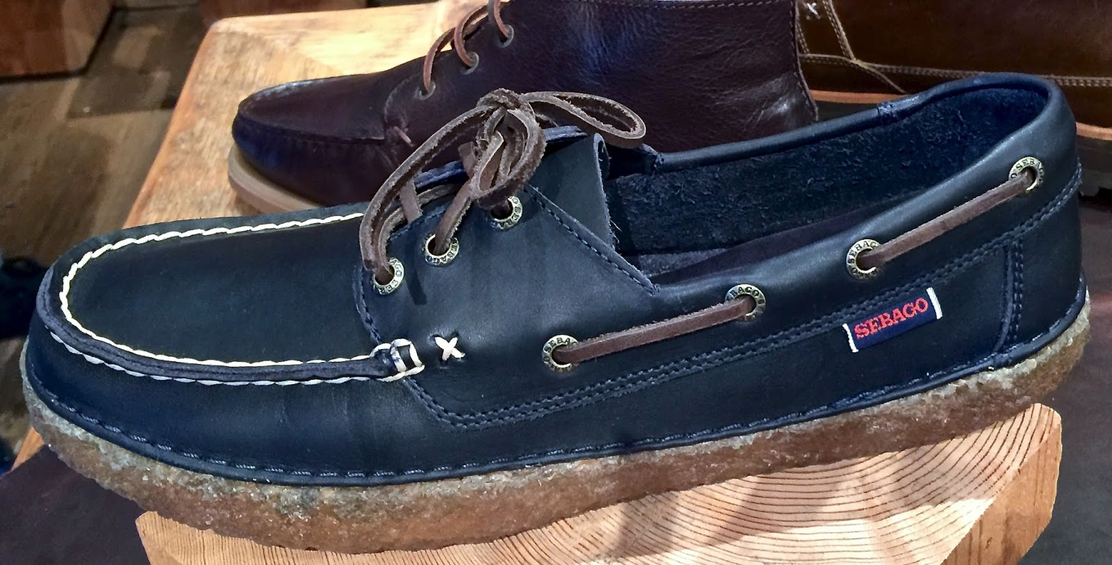 Iconic boat-deck style...with moccasin construction- anti-rust eyelets,  rawhide leather laces, on a highly slip-resistant crepe rubber outsole that  is ...