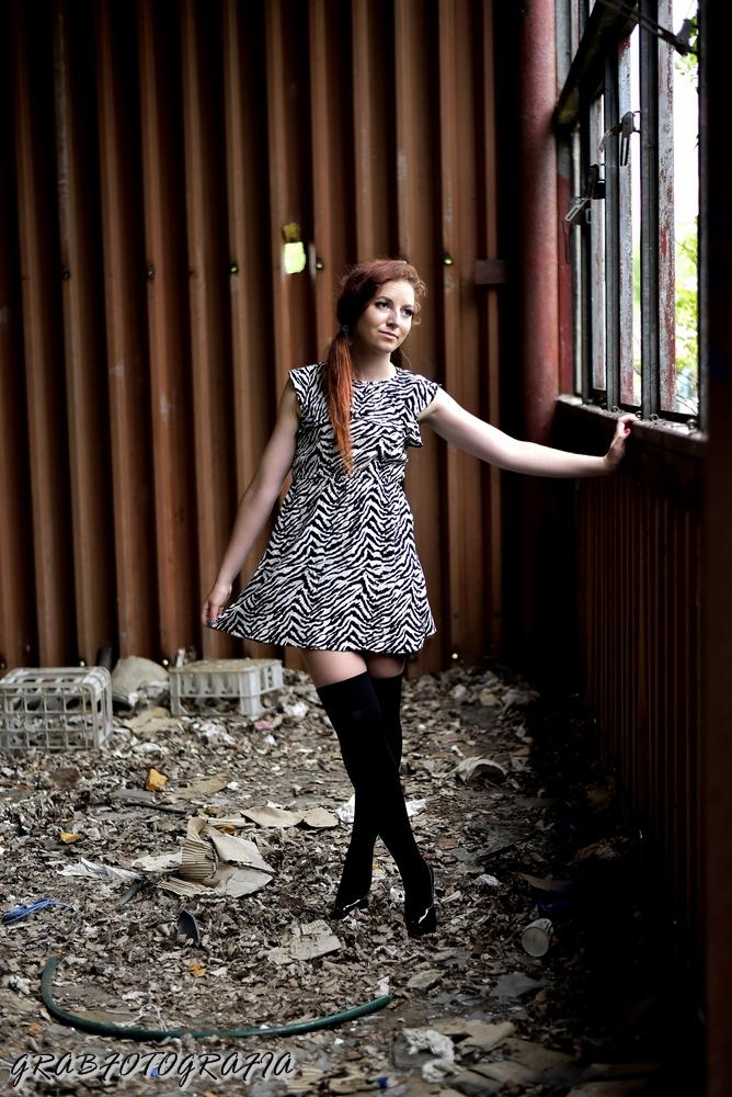 8.07.17 Sukienka zebra, zakolanówki, czarne szpilki, włosy kucyk na bok, Dębica