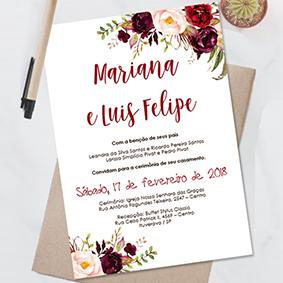 Convite casamento marsala floral editavel no word