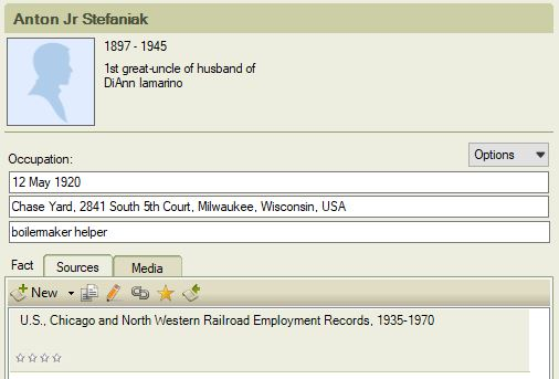 An example of a simple source note. This matches the database name on Ancestry.com.