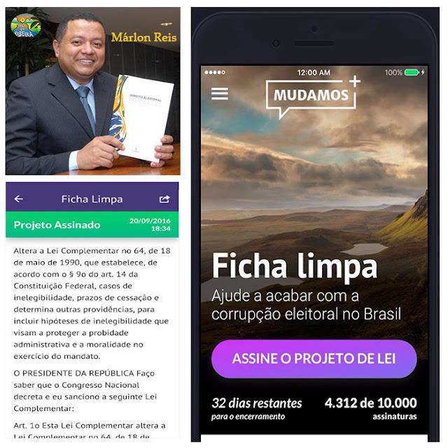 """Márlon Reis relator da """"Ficha Limpa"""" lançou aplicativo """"Mudamos"""" para assinar Projetos de Lei Popular"""